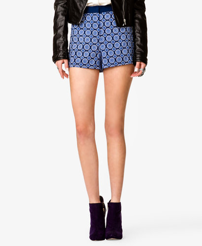 FOREVER 21 High-Waisted Scarf Print Shorts