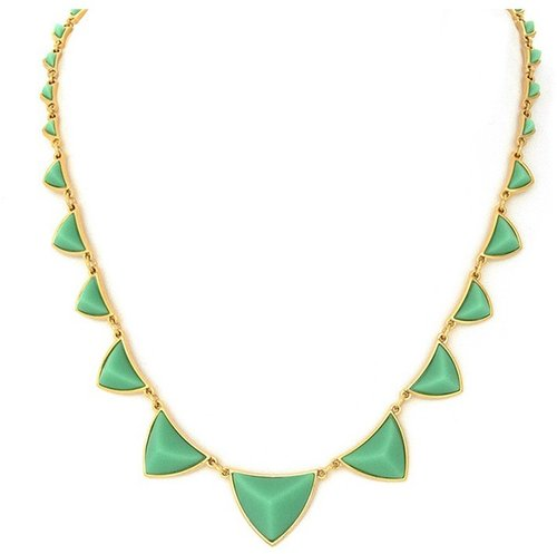 House of Harlow 1960 Jewelry Pyramid Station Necklace with Mint Green Resin