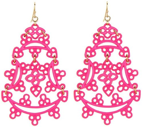 Jessica Simpson - Eyelet Neon Drop Earrings (Neon Pink/Gold) - Jewelry