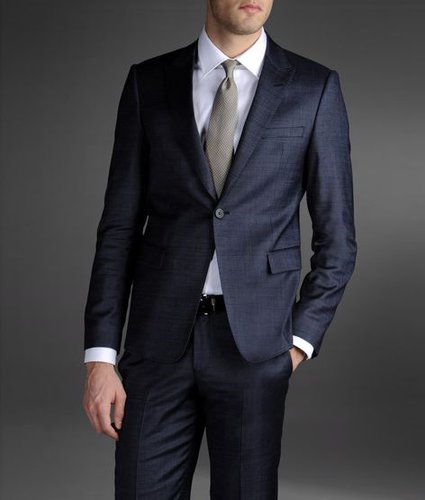 One-Button Suit In Combed Denim Effect