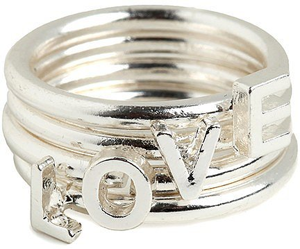Silver Stacked Love Rings