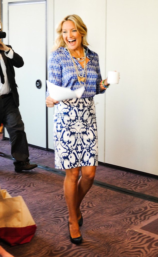Kate Hudson gave her first motivational speech in Washington DC earlier this week in a blue print-on-print ensemble. To temper the bold look, she added a few layers of gold necklaces. Source: Carly Otness/BFAnyc.com