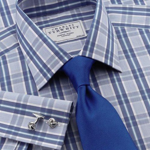 Jermyn St blue and sky check slim fit dress shirt