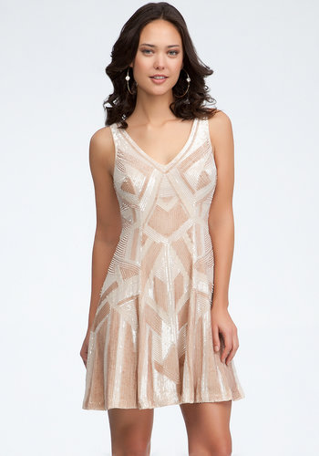 Art Deco V-Neck Embellished Silk Dress