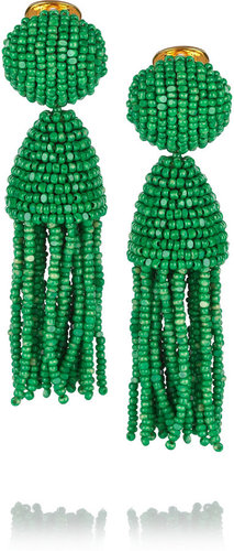 Oscar de la Renta Gold-plated beaded tassel clip earrings
