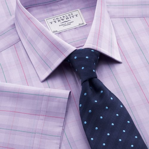 Lilac Prince of Wales with multi overcheck short sleeve classic fit dress shirt