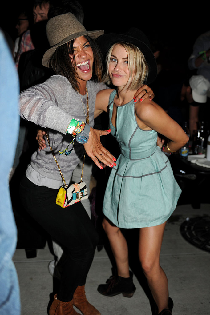 Jessica Szohr and Julianne Hough had fashionable fun together in hats at the Neon Carnival at Coachella.  Photo courtesy of Seth Browarnik/WorldRedEye.com