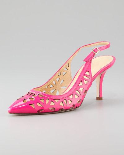 Kate Spade New York Jacey Cutout Kitten-Heel Slingback, Lipstick Pink