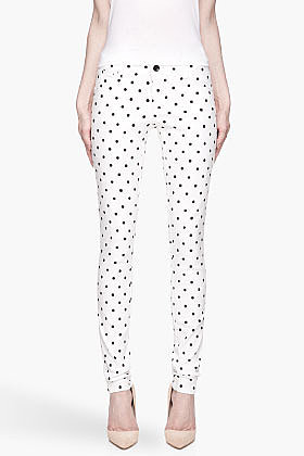 ALICE + OLIVIA White and black polka dot Skinny Jean