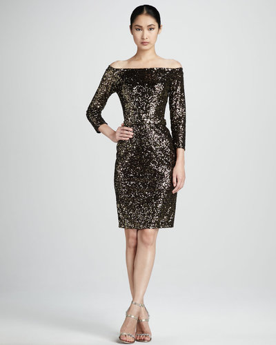 David Meister Sequined Off-Shoulder Cocktail Dress
