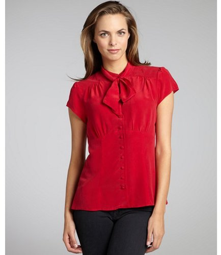 Nanette Lepore scarlet silk crepe 'Nightingale' tie neck blouse