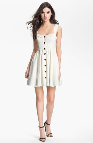 Betsey Johnson Button Detail Fit & Flare Dress