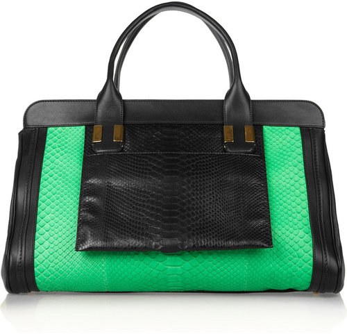 Chloé The Alice large python and leather tote