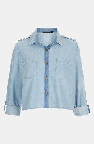 Topshop Crop Chambray Shirt