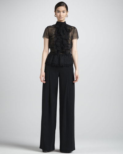 Oscar de la Renta Wide-Leg Side-Zip Pants, Black
