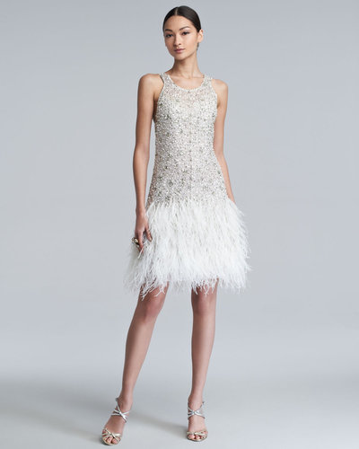 Oscar de la Renta Sparkle Feather-Skirt Dress