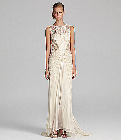 Tadashi Sleeveless Long Chiffon Gown