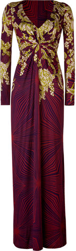 Matthew Williamson Ruby/Jade Drape Front Stretch Cotton Maxi Dress