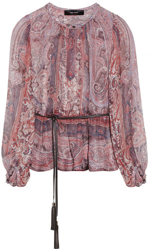 Isabel Marant Shayne belted printed silk-gauze top