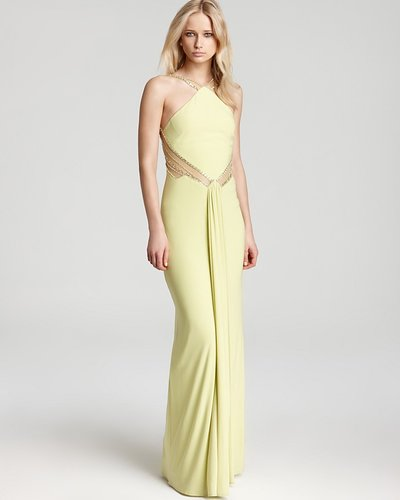 Mignon Gown - High Neck Mesh Insets