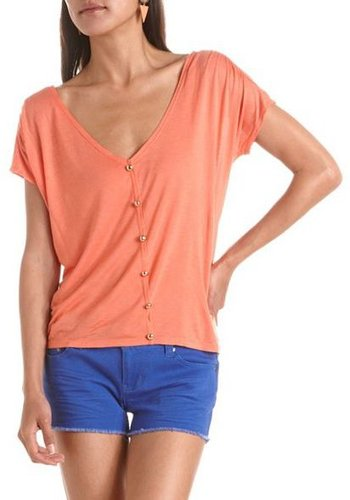 Button-Front V-Neck Tee