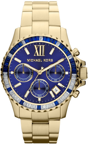 Michael Kors 'Everest' Baguette Crystal Bezel Bracelet Watch, 41mm