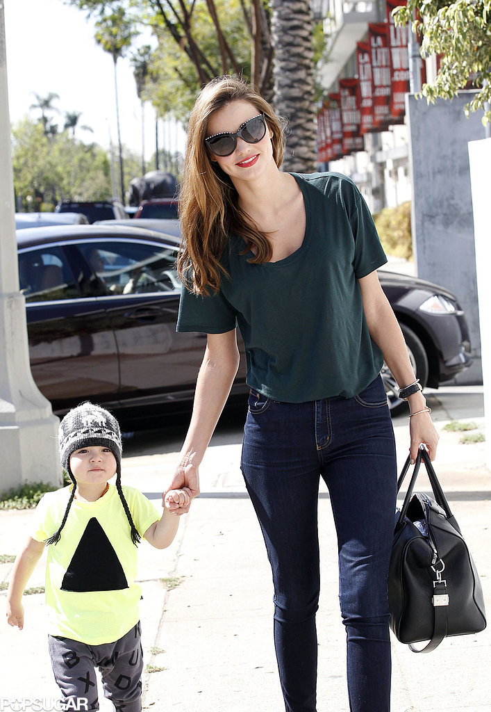 Miranda Kerr smiled in LA with Flynn.