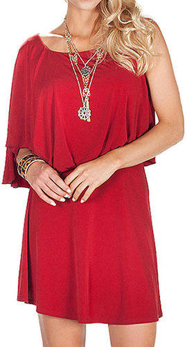 One Shoulder Drape Sleeve Dress