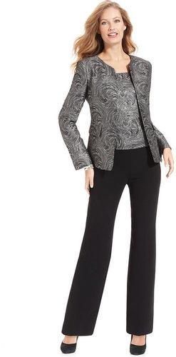 Kasper Suit, Metallic Jacquard Jacket, Shell & Black Pants