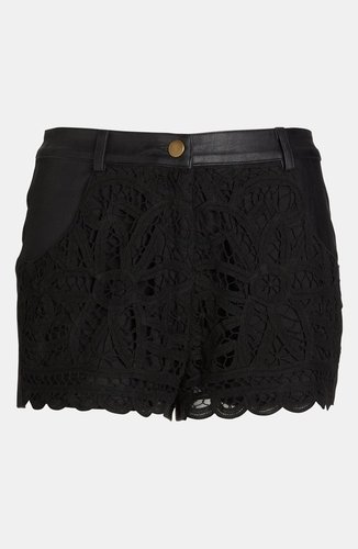 ASTR Crochet Front Faux Leather Shorts