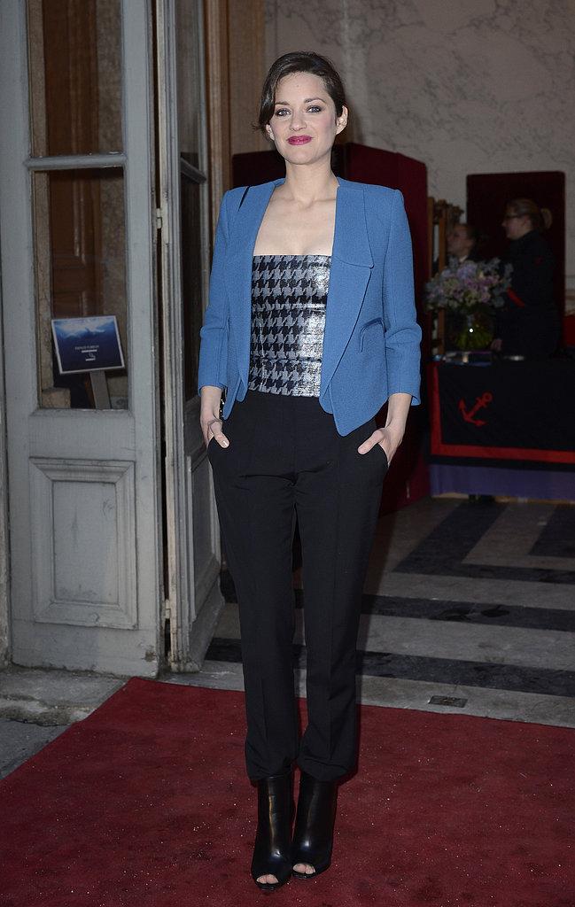 Marion Cotillard wore Fall 2013 Christian Dior at the Hotel de la Marine in Paris.