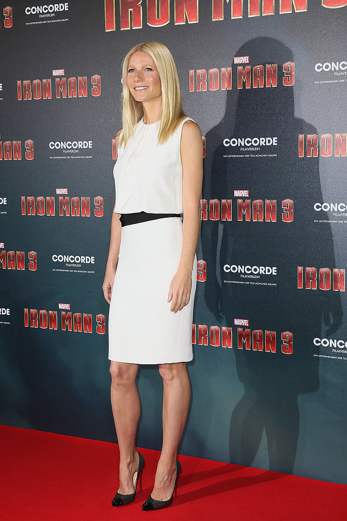 Gwyneth Paltrow donned a white dress for a stop in Munich.