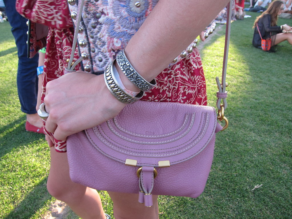 A Chloé Marcie Pouch Bag in the prettiest shade of lavender caught our eye with lovely stitched leather detailing.