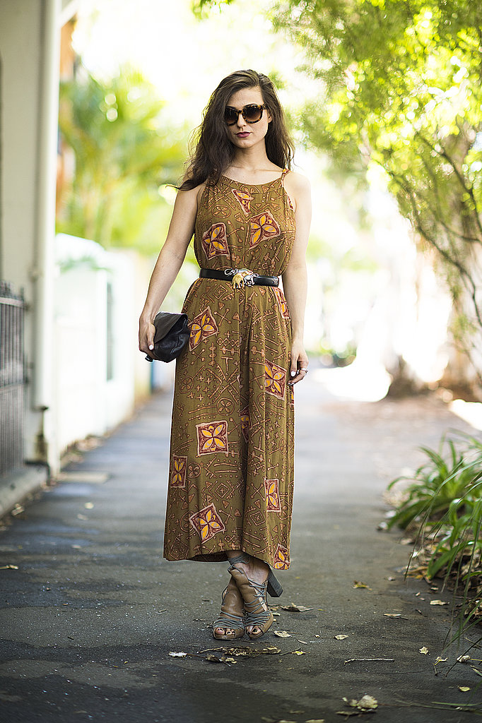 A vintage-feeling dress got just the right dose of accessories with an eclectic belt and lace-up sandals. Source: Le 21ème   Adam Katz Sinding