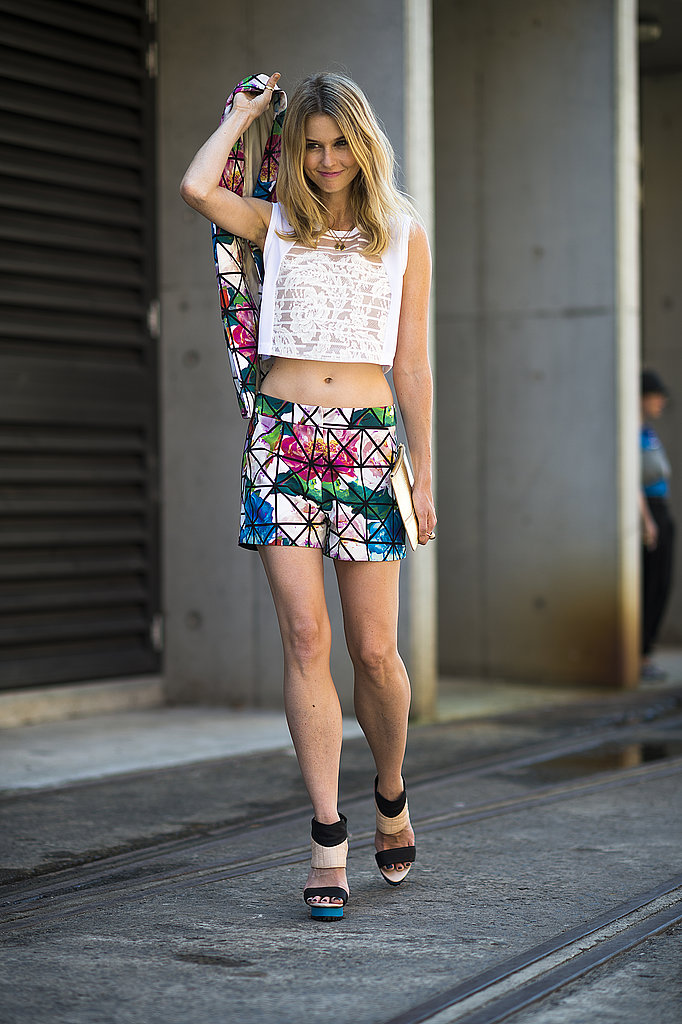 A crop top and floral suiting were a statement-making duo. Source: Le 21ème   Adam Katz Sinding
