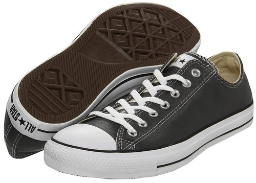 Converse - Chuck Taylor All Star Specialty Leather OX (Charcoal Leather) - Footwear