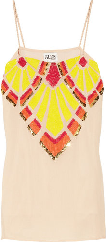 ALICE by Temperley Marcelo neon sequin-embellished georgette camisole