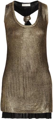 Emilio Pucci Metallic ribbed silk-jersey tank