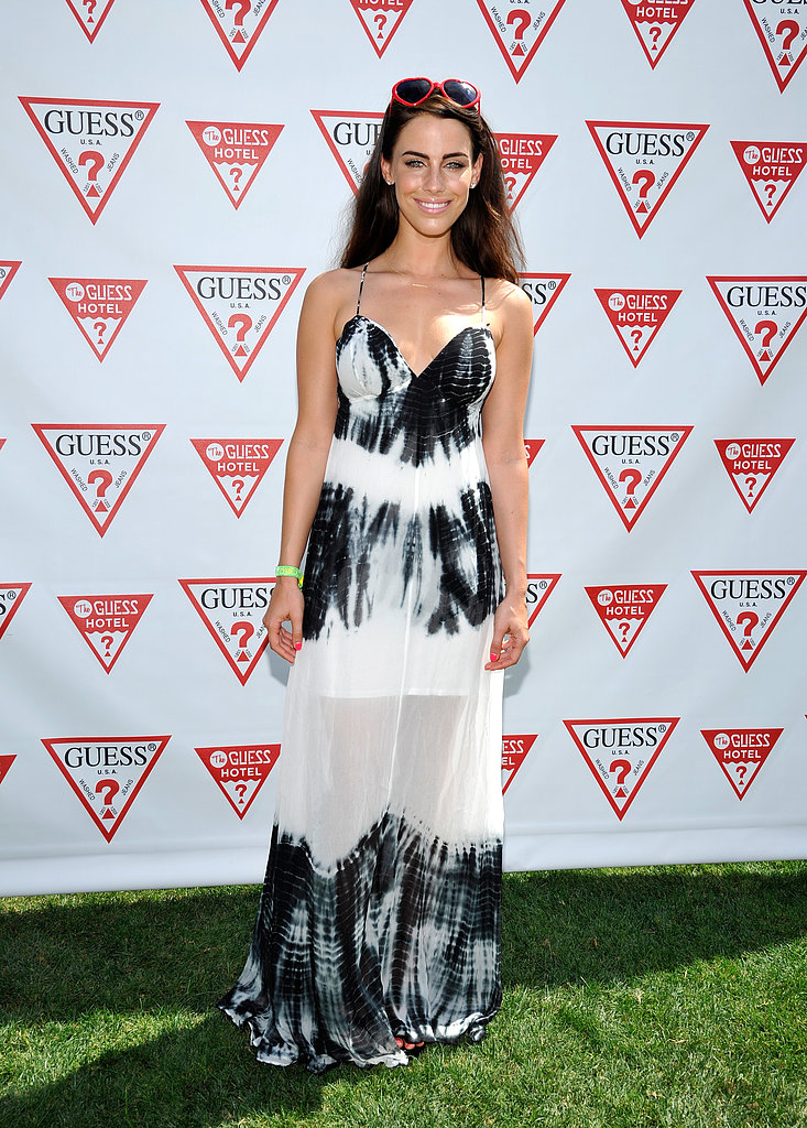 Jessica Lowndes's tie-dyed maxi dress and red sunglasses were fitting for the Guess pool party. We love the sheer skirt.