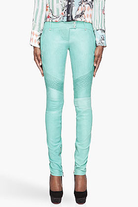 BALMAIN Mint green Leather biker leggings