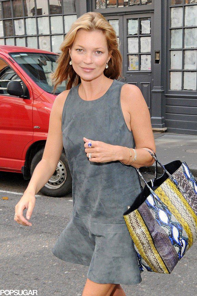 Kate Moss carried a Balenciaga bag in London.