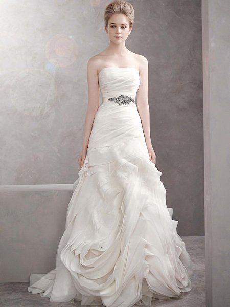 Want to get married in a Vera Wang but don't want to spend a lot of money? Then this Vera Wang For David's Bridal organza fit-and-flare gown ($1,248) is calling your name.