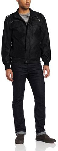 Calvin Klein Men's Faux Leather Bomber