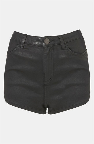 Topshop Moto 'Suri' Coated Denim Hot Pants