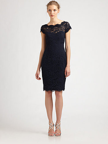 ML Monique Lhuillier Diamond-Back Lace Dress