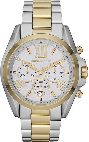 Michael Kors Watch, Women's Chronograph Bradshaw Two Tone Stainless Steel Bracelet 43mm MK5627