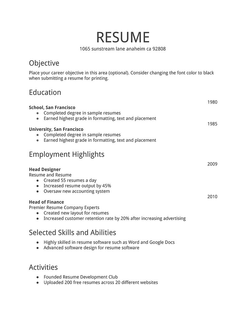 sample of a job resumes