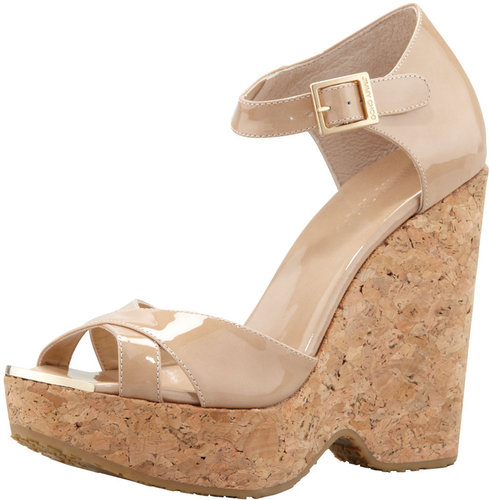 Jimmy Choo Pape Patent Wedge Sandal, Nude