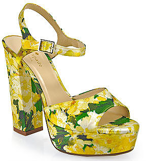 Kate Spade - ila - Silk Floral Print Platform Sandal in Yellow
