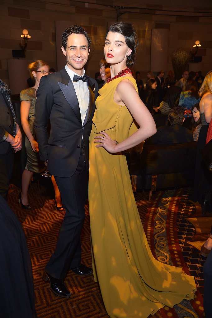 Zac Posen and Crystal Renn posed together inside of the As Good as Gold Magnum Ice Cream event.